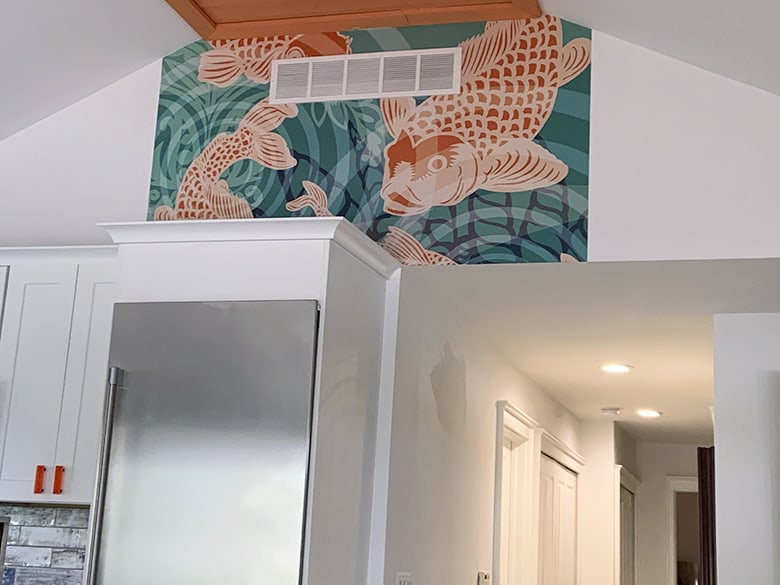 Installation Casart Koi Fish Pond Mural removable wallpaper by POZdesigns step 1