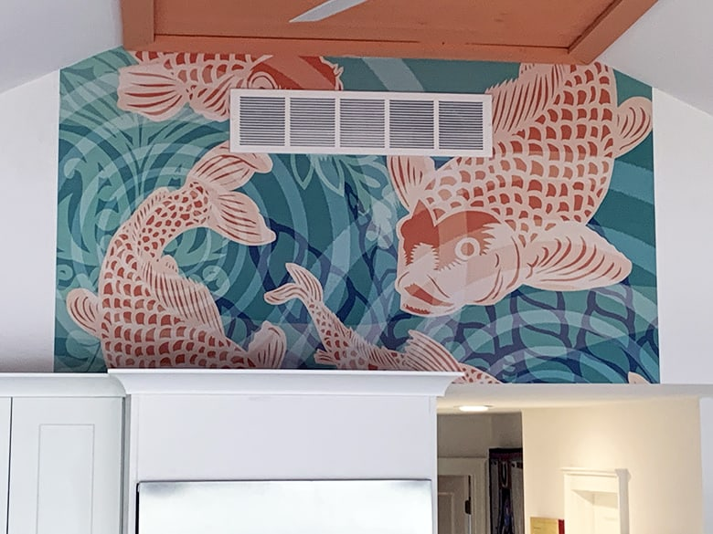 Close up Koi Fish Pond Mural Casart removable wallpaper installation