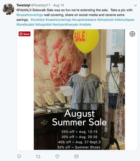 Twist Boutique promotes Casart Coverings removable wallpaper in retail shop